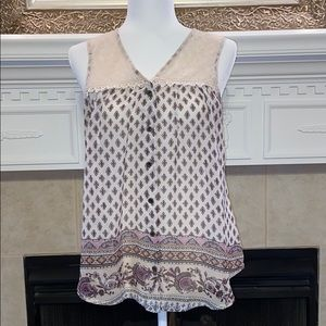 Society Girl Tank with accent Lace Panel